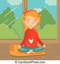 jovem, mulher grávida, relaxante, em, ioga, posição lotus, menina, prática, ioga, ligado, a, fundo, de, janela, com, verão, vista, coloridos, vetorial, ilustração