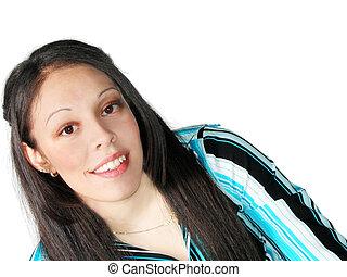 jovem, mulher hispânica