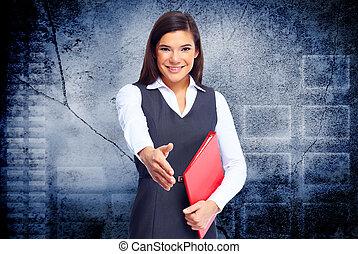 jovem, mulher negócio, com, handshake.
