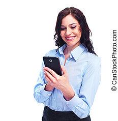 jovem, mulher negócio, com, telephone.