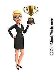jovem, mulher negócio, com, troféu
