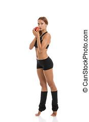 jovem, mulher saudável, comendo maçã