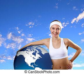 jovem, mulher saudável, fazendo, desporto
