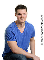 jovem, muscular, assento homem