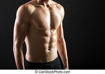 jovem, muscular, excitado, forte, torso, homem