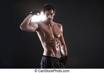 jovem, muscular, sujeito, com, um, pelado, torso, boxe