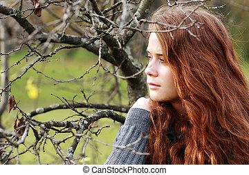 jovem, outono, mulher, parque