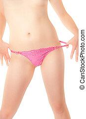 jovem, panties, cor-de-rosa, puxando, mulher