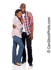 jovem, par americano africano