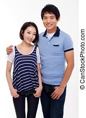 jovem, par asiático