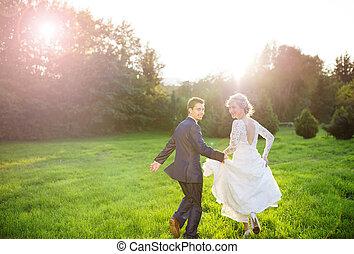 jovem, par casando, ligado, verão, prado