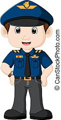 jovem, policial, caricatura