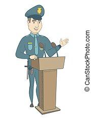 jovem, policial, dar, um, fala, de, a, tribune.