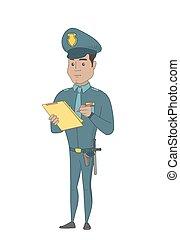 jovem, policial, em, uniforme, escrita, ligado, clipboard.
