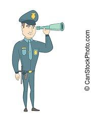 jovem, policial, monitorando, segurança, com, um, spyglass.