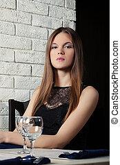 jovem, posar, retrato, menina, café, sensual