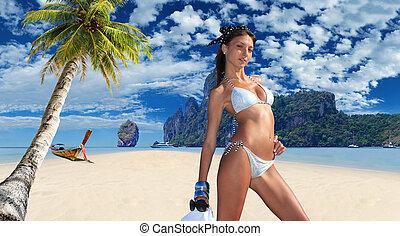 jovem, praia, mulher