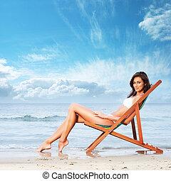 jovem, praia, relaxante, mulher, bonito, excitado