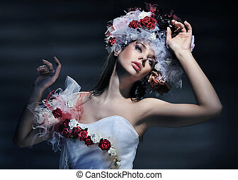jovem, primavera, vestido, mulher, desgastar