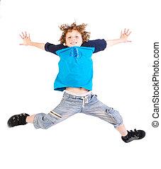 jovem, pular, dentro, alto, criança, atraente