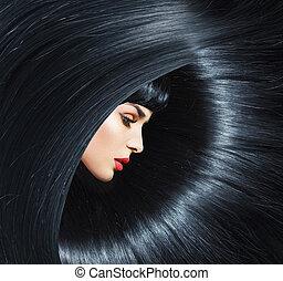 jovem, puro, mulher, com, trendy, penteado