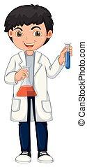 jovem, químico, branco, fundo