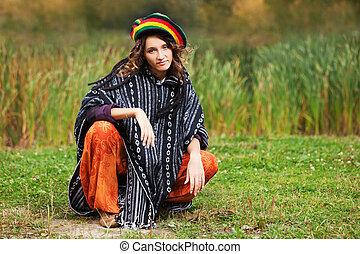 jovem, rastafarian, mulher, em, outono, parque