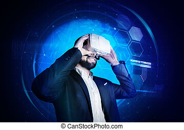 jovem, realidade virtual, alegre, enquanto, pôr, homem sorridente, óculos