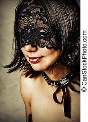 jovem, renda, máscara, mulher, excitado
