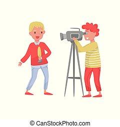 jovem, repórter, com, microfone, e, homem, com, câmera., profissionais, em, work., pessoas, fazer, tv, news., apartamento, vetorial, desenho