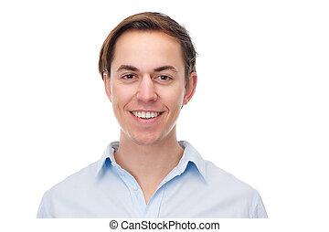 jovem, retrato, homem sorridente, horizontais, feliz