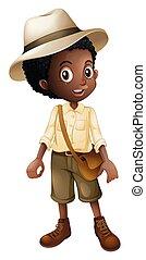 jovem, safari, menino, branco, fundo