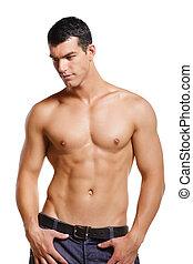jovem, saudável, muscular, homem