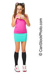 jovem, schoolgirl, com, telefone móvel