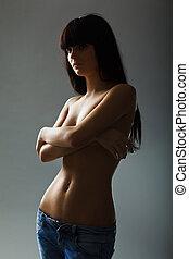 jovem, sensual, mulher, calças brim, moda, foto