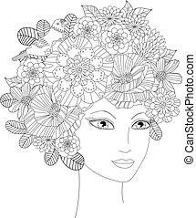 jovem, seu, coloração, flores, mulher bonita, livro