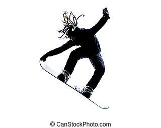 jovem, snowboarder, homem, silueta