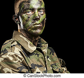 jovem, soldado, retrato