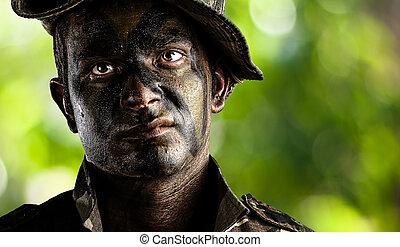 jovem, soldado, rosto