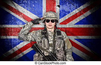 jovem, soldado, salutes