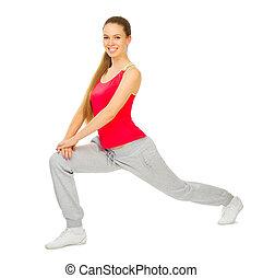 jovem, sporty, menina, fazendo, ginástico, exercícios