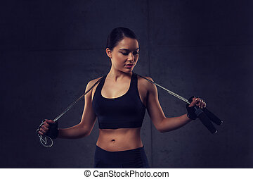 jovem, sporty, mulher, com, corda saltando