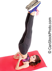 jovem, sporty, mulher, fazendo, exercícios