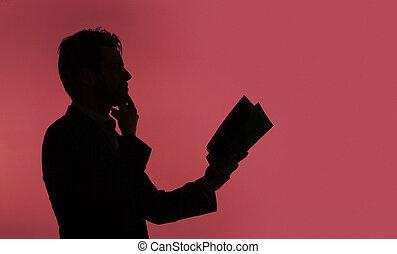 jovem, sujeito, leitura, a, livro