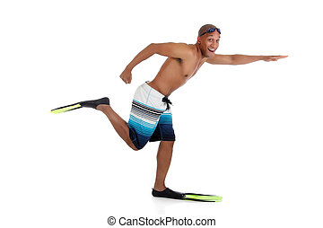 jovem, swimsuit, americano, atraente, homem africano, feliz