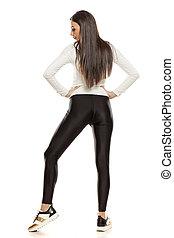 jovem, tights, mulher preta, bonito