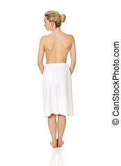 jovem, topless, mulher, após, spa, ou, bath.