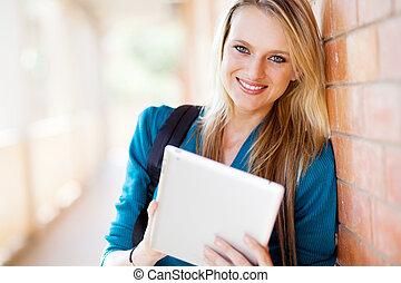 jovem, universidade, atraente, estudante, femininas