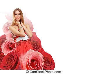 jovem, vestido, mulher, vermelho, bonito