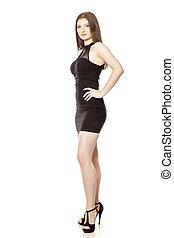 jovem, vestido preto, mulher, shortinho